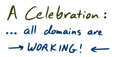 A celebration: All domains are working!
