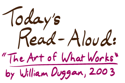 Today's Read-Aloud: The Art of What Works