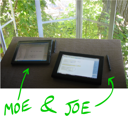 Joe & Moe on desk