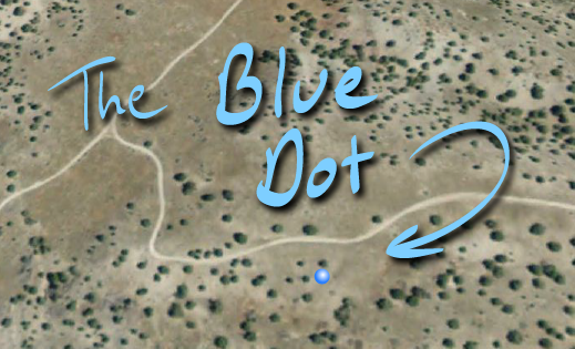 Screenshot from Google Earth, Blue Dot beside Juniper